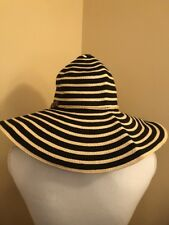 Panama Jack Toyo Womens Straw Sun Hat Black Tan Striped