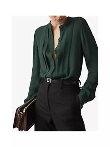 Reiss Nicole Pleat Front Blouse, Dark Green, Size 10 US, NWT