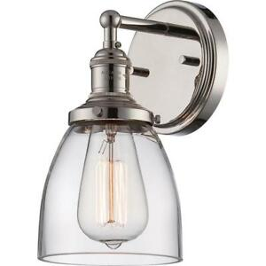 Sandy Springs 1-Light Wall Sconce Polished Nickel Finish Nuvo Lighting 60-5414