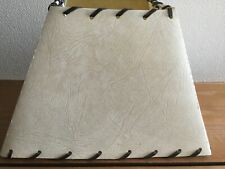 Beige Coloured Square Parchment Light Shade With Leather Lacing. Medium Size.