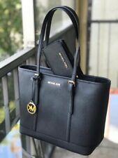 Michael Kors Women Leather Shoulder Tote Handbag Purse  Bag Black +Bifold Wallet