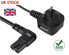 3M RIGHT ANGLE FIGURE OF 8 MAINS CABLE / POWER UK LEAD PLUG CORD C7 Fig Laptop