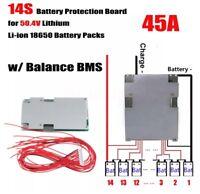 50.4V 14S 45A Li-ion Lipo 18650 Battery Balance Charging BMS PCB Board For Ebike