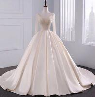 UK White/ivory/Champagne Beading Bodice Wedding Dress Bridal Gown  Size 6-22