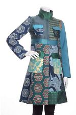 DESIGUAL WOMENS BEAUTIFUL MULTICOLORED LONG ZIP UP COAT TRENCH SIZE SMALL 36