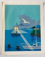 Norberto Santana, Signed Marina Seascape Serigraph 1990, Dominican Republic Art