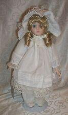 "Gorgeous 15""T Blonde Porcelain Doll w/Bonnett & Stand By Studio 5"