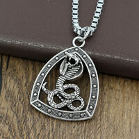 Egyptian Snake Cobra Stainless Steel Pendant Amulet Box Chain Mens Necklace