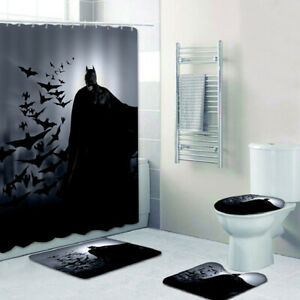 Batman Bathroom Rugs Set 4PCS Shower Curtain Bath Mat Contour Toilet Lid Cover
