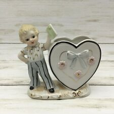 Vintage Shafford To My Valentine Boy Heart Lady Ceramic Planter