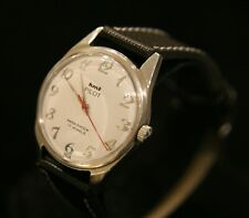 Men's white dial serviced 1970's HMT Pilot Parashock 17J military wristwatch