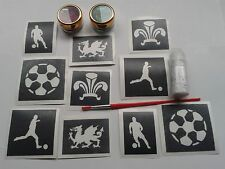 Wales football glitter tattoo set inc stencils glue & glitter  Welsh dragon
