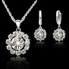 925 Sterling Silver Ringed Cubic Zirconia Stone Jewellery Set.