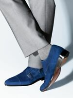 MEN HANDMADE SUEDE LEATHER BOLD CONTRAST STITCH BLUE DOUBLE MONK FORMAL SHOES