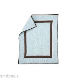 Luxe Luxury Quilt Aqua Green Brown Boy's Nursery Bedding Neutral Crib Comforter