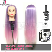 UK 24'' Hairdressing Training Head Mannequin Doll Purple Pink + Hair Styling Set