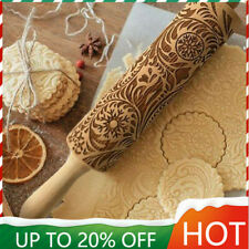 Wooden Rolling Pin Embossing Engraved Dough Roller For Cookies # Flower Pattern.
