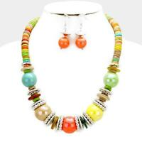 Coconut & Glass Beaded Women Necklace Earrings Set New