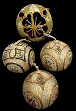Vintage Counted Cross Stitched  Christmas  Ornaments  Round Balls Unique  Lot /4