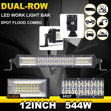 Cree 544W Slim Led Light Bar Dual Row 12inch Spot Flood Combo Off Road SUV ATV