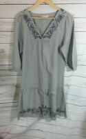 Indigo Marks and Spencer Womens Dress UK 8 Grey/Taupe Cotton Embroidered Floral