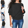 Batwing Knit Sweater Long Sleeve Oversized Loose Jumper Pullover Womens Ladies