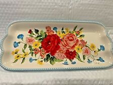 New listing Pioneer Woman Sweet Rose Design 14 Inch Stoneware Platter Serving Tray Htf