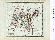 Dépt 01 - XVIII ème Carte de l'Ain Superbe Gravure sur Cuivre Aquarellée 1792