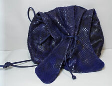 Carlos Falchi AUTHENTIC Blue Butterfly Snake Skin Cross Body Bag REPTILE Purse