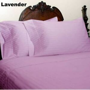 Lilac Striped King 4 Piece Bed Sheet Set 1000 Thread Count 100% Egyptian Cotton