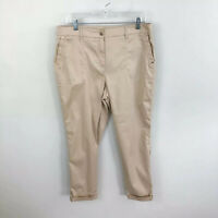 Chicos Comfort Waist Luxe Utility Ankle Pants Tan High Rise Womens Size 1.5