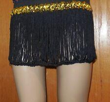 """DANCE COSTUME fringe Skirt Black yellow sequin waist 6-7"""" long over 30 available"""
