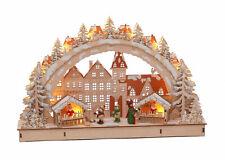 LED Holz Schwibbogen 45x28 cm - Motiv Weihnachtsmarkt - Lichterbogen Fensterdeko