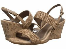 Life Stride Persona wedge sandal in Taupe nude beige woven sz 9.5 Md NEW