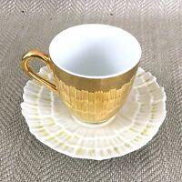 Antico Tazza da Tè e Piattino Mare Cover Scallop Reale Worcester Oro Riflessivo
