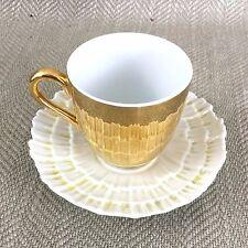Rétro Tasse à Thé et Soucoupe Coquillage Feston Royal Worcester Doré Anti Reflet