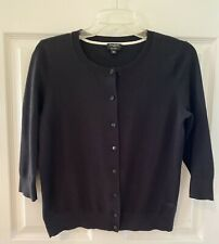 Talbots Black 3/4 Sleeve Button Up Cardigan Sweater Petite Medium