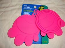 NEW Pet-Lid-Coves for food Can, Fits Small, Med & Lg Cans-Silicone-Flexible PINK