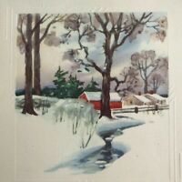 Vintage Early Mid Century Christmas Greeting Card Red Barn Snowy Stream Trees