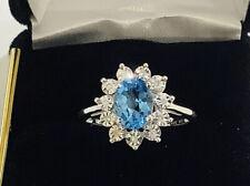 Swiss Blue Topaz  Diamonds,10k White Gold  ,gemstone Ring,size7