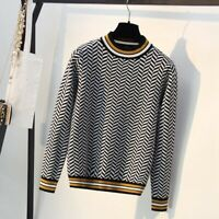 Luxury Geometric Knitted Women Pullover and Sweater Soft & Thick Female Jumper