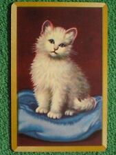 Little White Kitten Cat on Blue Pillow Art Swap Card Vintage 1940's Gold Edges !
