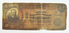 1902 $10 National Bank of Chicago IL 3102 Plain Back Fr# 624 N373349D
