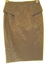 Black lace jacquared peplum pencil wiggle skirt Diva Vamp Rockerbilly 8 10 18