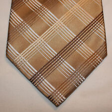 NEW Kenneth Cole Silk Neck Tie Beige with Brown and White Plaids 63
