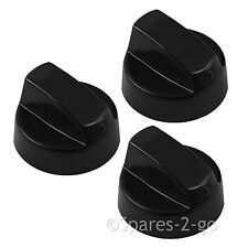 3 x CANDY Black Oven Cooker Hob Control Knob Switch + Complete Adaptor Kit