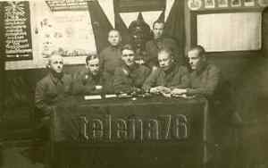 1937 Soviet Military Stalin Monument Banner Propaganda Flag Russian vtg photo