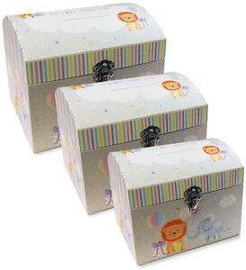 SET OF 3 BABY GIFT BOXES LUXURY BOY KEEPSAKE BOX CUTE CHEST TRUNK STORAGE