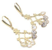 Cubic Zirconia White Round Chandelier Earrings,14K Yellow Gold Leverbacks