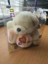 More details for hallmark forever friend cream soft toy teddy with love heart on foot
